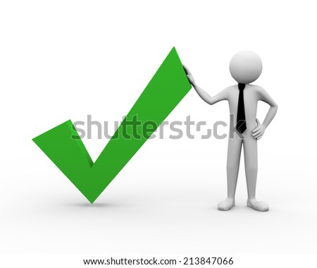 3d rendering of business person standing with correct right check tick mark. 3d illustration of human character - stock photo