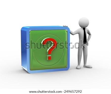 3d rendering of business person standing with cubd box desing of question mark. 3d white people man character - stock photo