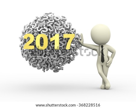 3d rendering of business person standing with 2017 sphere ball made up of question mark symbol sign. - stock photo