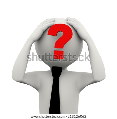 3d rendering of business person with big question mark on his face. 3d white people man character - stock photo