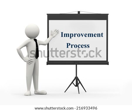 3d rendering of business person with it improvement process phrase on projector tripod. 3d white people man character - stock photo