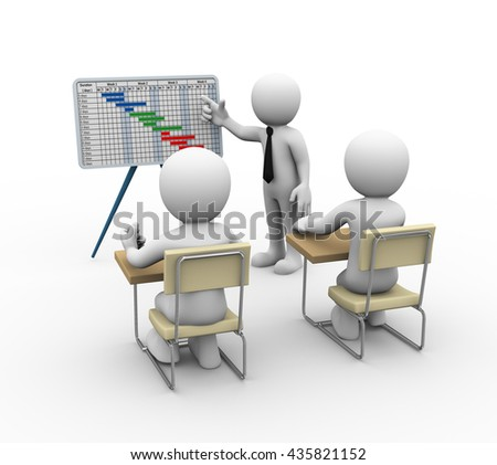 3d rendering of businessman presenting project gantt chart. 3d illustration of human character - stock photo
