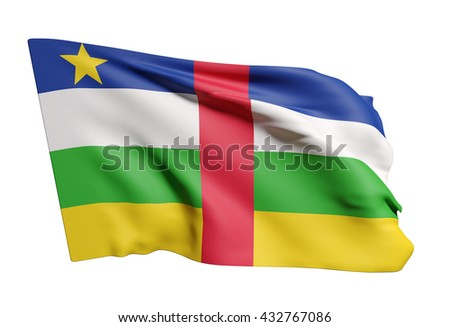 3d rendering of Central African Republic flag waving on white background - stock photo