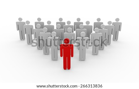 3d rendering of character following their leader - stock photo