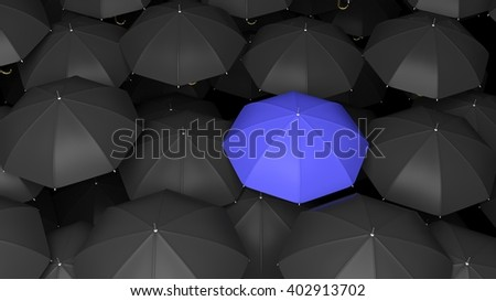 3D rendering of classic large black umbrellas tops with one blue standing out. - stock photo