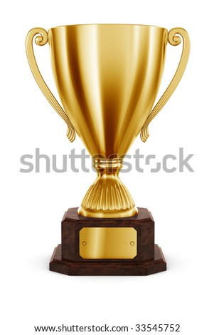 3d rendering of classic trophy in gold - stock photo