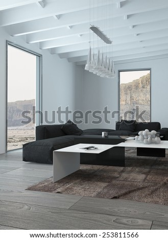 3D Rendering of Close up Black and White Elegant Living Room Design with Chandelier Hanging on Architectural Ceiling. - stock photo
