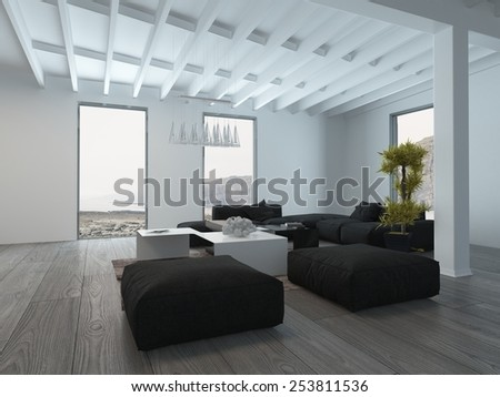 3D Rendering of Close up Black and White Furniture Inside a White Lounge Room with Glass Windows. - stock photo