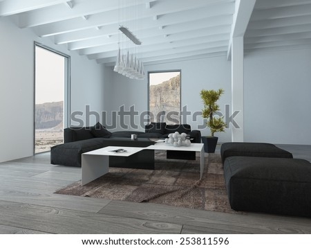 3D Rendering of Close up Black Chairs and White Table at the Living Room on an Architectural House. - stock photo