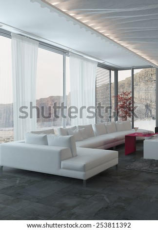 3D Rendering of Close up Elegant White Sofa Inside an Architectural Living Room with Glass Windows. - stock photo