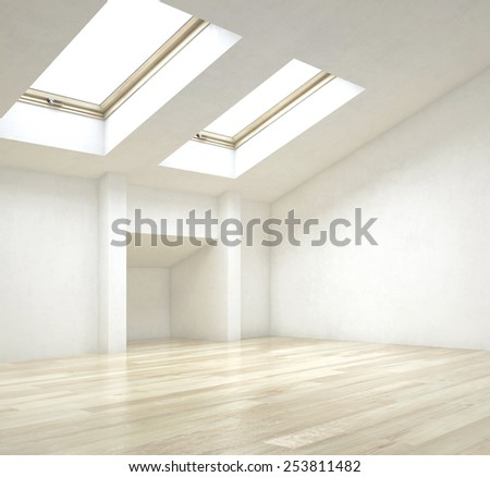 3D Rendering of Close up Empty Architectural Interior Design of a House with Artistic Ceiling Design - stock photo