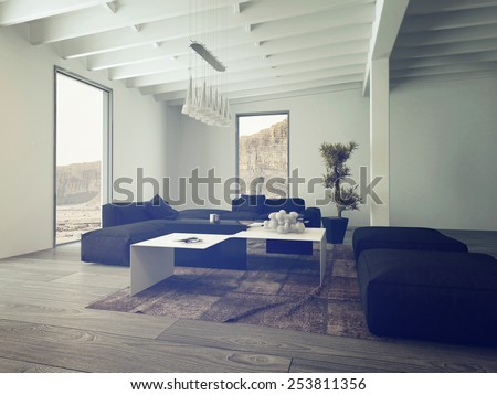 3D Rendering of Close up Illuminated Lounge Room with Elegant Black Chairs and White Table.
