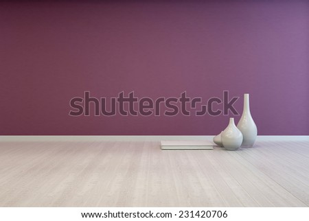 3D Rendering of Colorful bare purple living room interior with a white wooden floor unfurnished except for an arrangement of small ceramic vases on the floor with space for imaginative interior decor - stock photo
