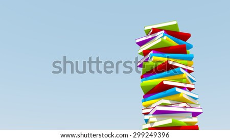 3d rendering of colorful books, with copyspace under sky - stock photo
