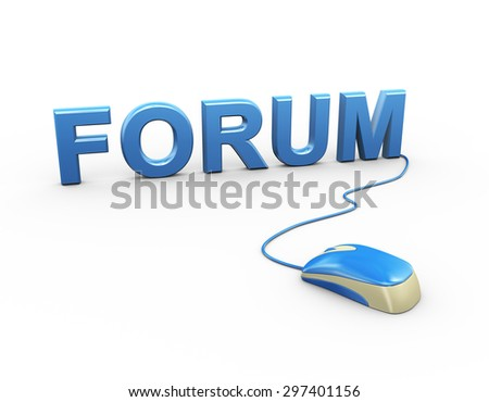 3d rendering of computer mouse connected to word text forum