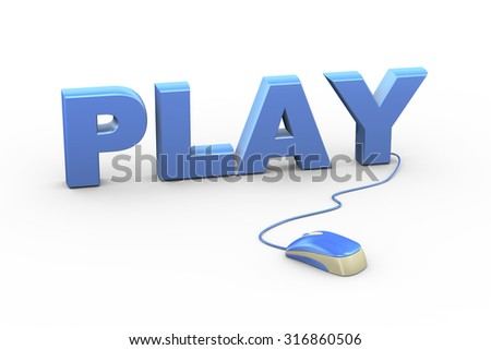3d rendering of computer mouse connected to word text play - stock photo