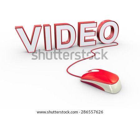 3d rendering of computer mouse connected to word text video - stock photo