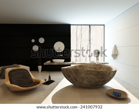 3D Rendering of Contemporary luxury bathroom interior with freestanding marbled bath, modern wooden recliner chair and vanity on a black accent wall with a counter extending across a large view window - stock photo