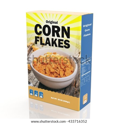3D rendering of Corn Flakes paper packaging, isolated on white background.