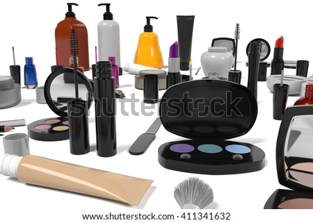 3d rendering of cosmetics set