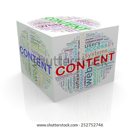 3d rendering of cube box of wordcloud word tags of content - stock photo