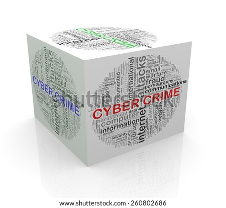 3d rendering of cube box of wordcloud word tags of cyber crime - stock photo
