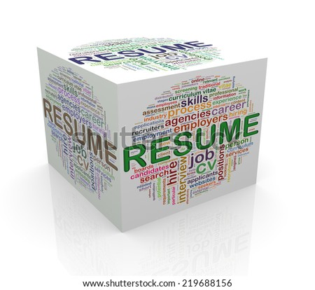3d rendering of cube box of wordcloud word tags of resume - stock photo