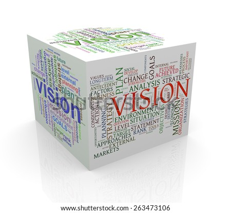 3d rendering of cube box of wordcloud word tags of vision - stock photo