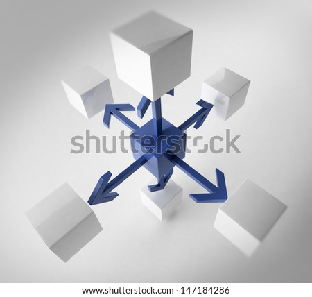 3D rendering of cubes - stock photo