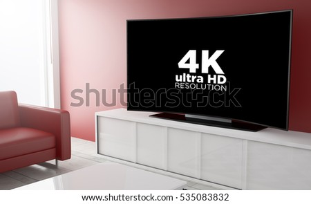 3d rendering of curved smart television on a living room with pay per view platform