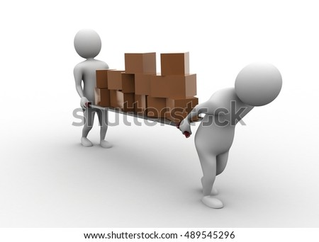 3d rendering of 3d people carrying the cargo