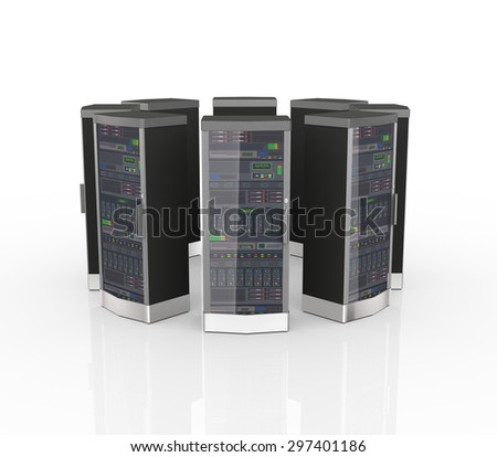 3d rendering of datacenter computer networking servers in circular shape - stock photo
