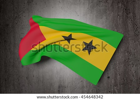 3d rendering of Democratic Republic of Sao Tome and Principe flag waving on a dirty background