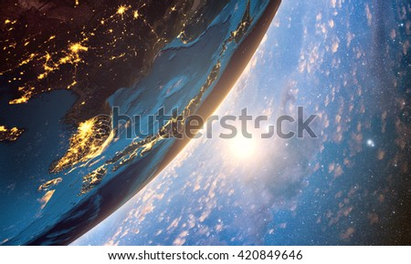 3D rendering of detailed colorful Earth,  highly detailed planet earth in the evening, sunrise in japan, Elements of this image furnished by NASA - stock photo