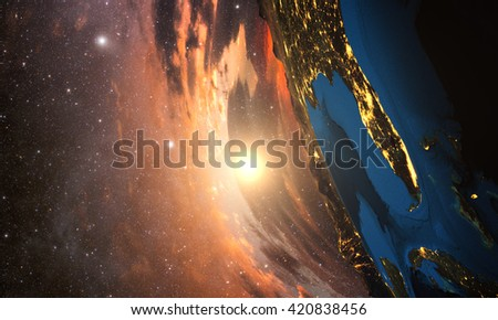 3D rendering of detailed colorful Earth,  highly detailed planet earth in the evening, sunset over california, Elements of this image furnished by NASA - stock photo