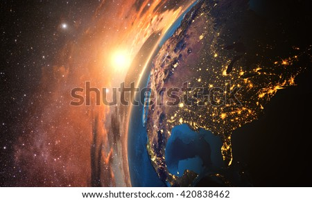 3D rendering of detailed colorful Earth,  highly detailed planet earth in the evening, sunset over USA, Elements of this image furnished by NASA - stock photo