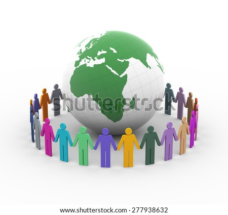 3d rendering of different colorful people holding hands together around the globe - stock photo