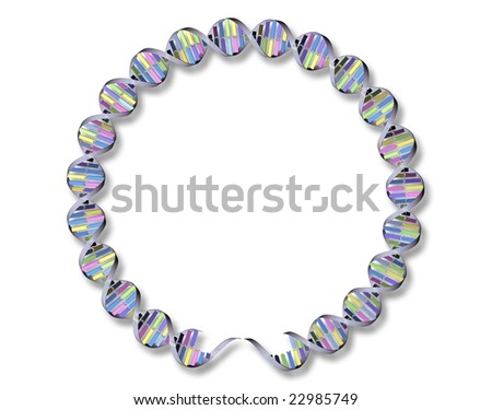 3D Rendering of DNA strand in a circle with shadow on white background - stock photo
