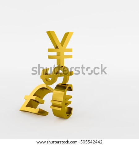 3D rendering of dollar,Chinese yuan and British pound ,Euro sign