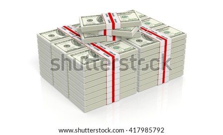 3D rendering of 100 Dollars banknote bundles stacks, isolated on white background. - stock photo