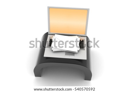 3d rendering of  E-mail concept. Modern Laptop and envelope