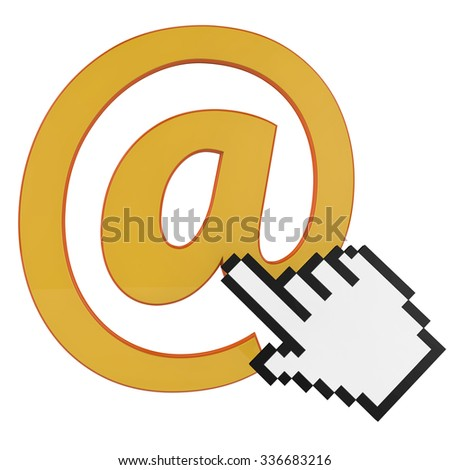 3d rendering of E-mail symbol and hand icon - stock photo