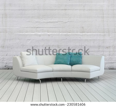 3D Rendering of Elegant White Sofa with White and Green Pillows on an Empty Lounge Room with Textured White Wall Background and Wooden Flooring Design. - stock photo