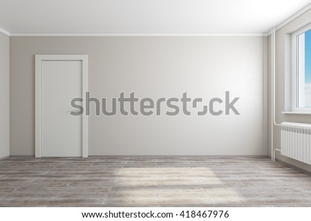 3D rendering of empty living room in an apartment.  A view of the door - stock photo