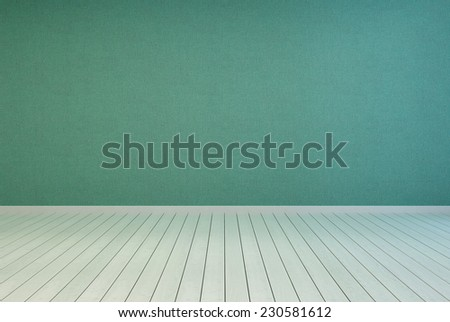 3D Rendering of Empty Room Interior Design with Green Plain Wall and Off White Floor. - stock photo