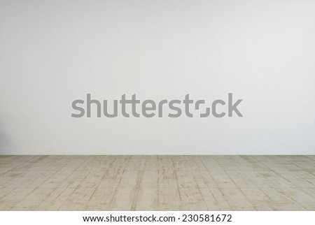 3D Rendering of Empty Room Interior Design with Off White Plain Wall and Wooden Floor. - stock photo