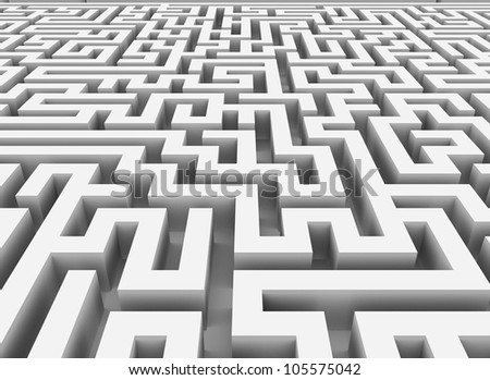 3d rendering of endless maze - stock photo