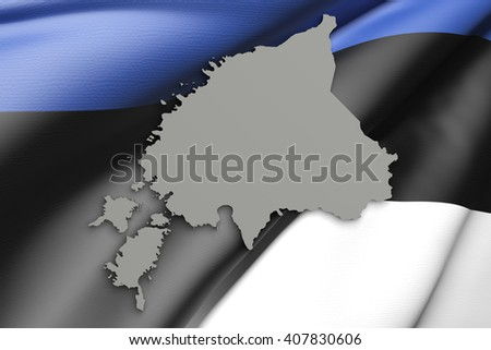 3d rendering of Estonia map and flag on background. - stock photo