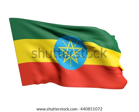 3d rendering of Ethiopia flag waving on a white background - stock photo
