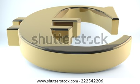 3D rendering of Euro Symbol made of gold and Shadow isolated on white background./Gold Euro Symbol - stock photo
